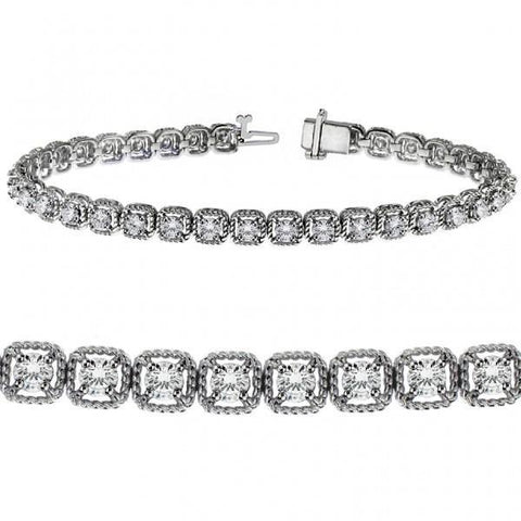 Round cut prong set diamond women tennis bracelet gold fine jewelry