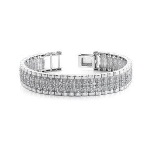 Round shape pave set men diamond bracelet 14K white gold 5.75 CT.