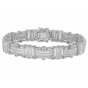 6 Carats round shape men diamond bracelet white gold 14K