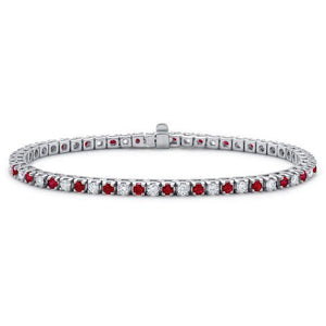 11 carats Rubies & diamond brilliant cut diamonds tennis bracelet