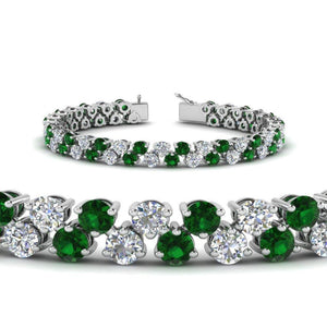 Round cut emerald gemstone diamond tennis bracelet white gold 14K