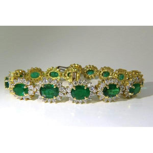 Ladies oval cut emerald with diamond bracelet jewelry YG14K