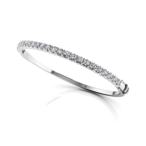 Sparkling brilliant  5 ct diamonds women bangle bracelet  white gold