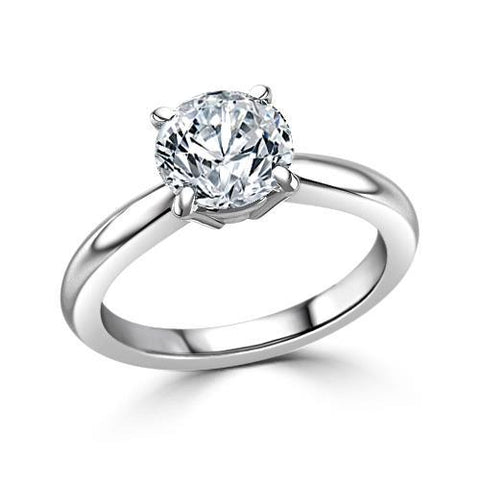 Prong Setting Round Diamond Engagement Solitaire Ring White Gold 1.25 Ct.