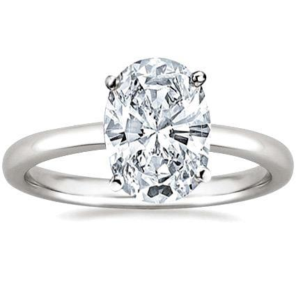 Prong Set Big Oval Cut 2.90 Ct Solitaire Diamond Engagement Ring