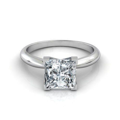 Sparkling Princess Cut Prong Set 2.90 Ct Diamond Wedding Ring Solitaire