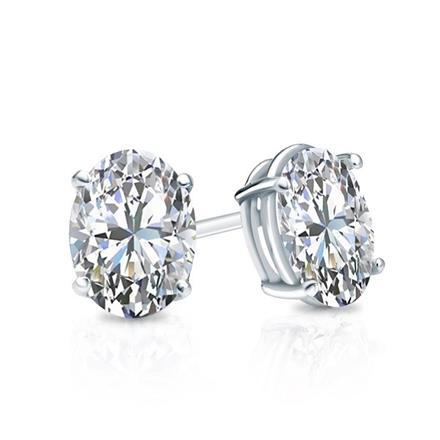 Women Stud Oval Diamond Ear Ring Fine Gold Jewelry 1.5 Carats