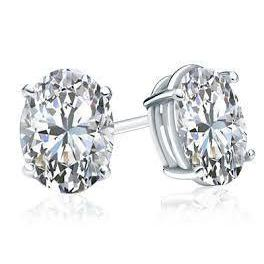 Oval Cut Diamond Stud Ear Ring Solid White Gold Fine Jewelry 5 Ct