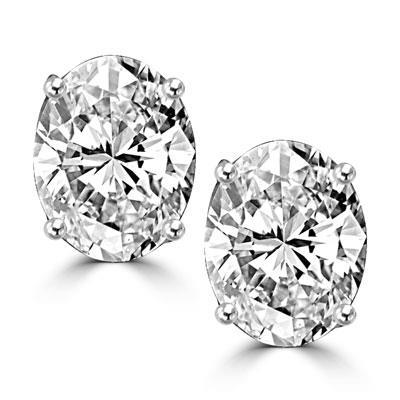 Big Diamond Stud Ear Ring Pair White Gold 14K Women Jewelry 6 Ct