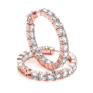 Hoop Earrings Round Diamonds 7.20 Carats Rose Gold