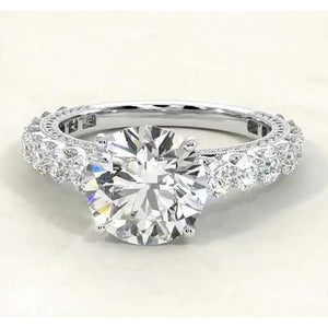 Engagement Round Diamond Ring Jewelry F VS1 VVS1 White Gold 14K 3.80 Carats