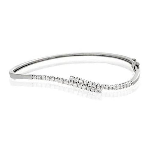 Women Bangle Bracelet 1.60 Carats Round Cut Diamonds White Gold 14K