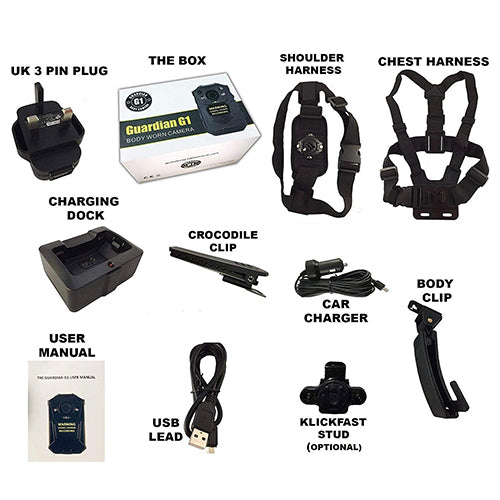 G1 Body Worn Camera with Complete Accessory Kit Body Worn Camera BodyCamera.co.uk - BodyCamera.co.uk - Body Worn Security Systems