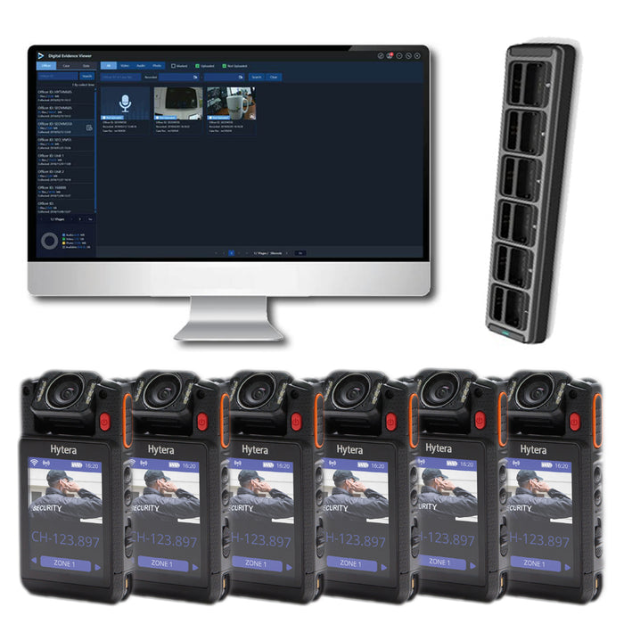 Hytera VM780 Complete BodyCam Kit (6 users) Incl. SmartMDM Software Bundles Hytera - BodyCamera.co.uk - Body Worn Security Systems