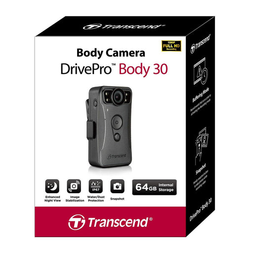 Transcend DrivePro 30 Body Camera 64GB Body Worn Camera Transcend - BodyCamera.co.uk - Body Worn Security Systems