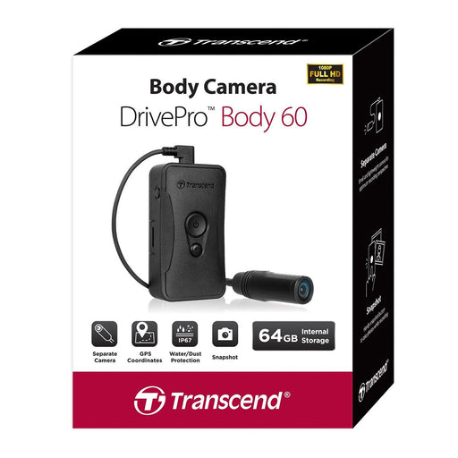 Transcend DrivePro 60 Body Camera 64GB Body Worn Camera Transcend - BodyCamera.co.uk - Body Worn Security Systems