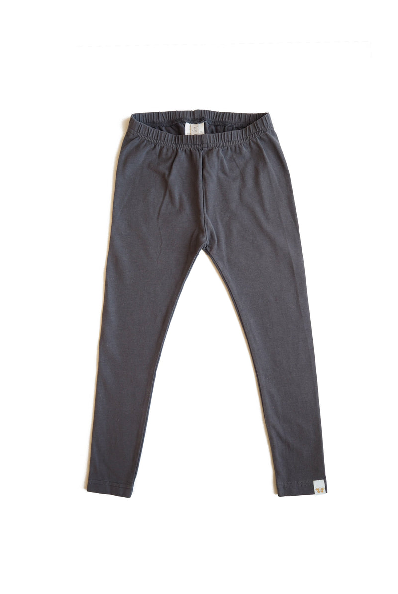 LEON leggings i ekologisk bomull - Solid Dark Grey