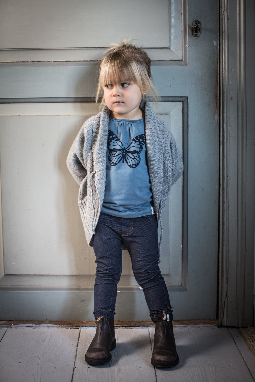 DENIM leggings i ekologisk bomull - Dark denim blue