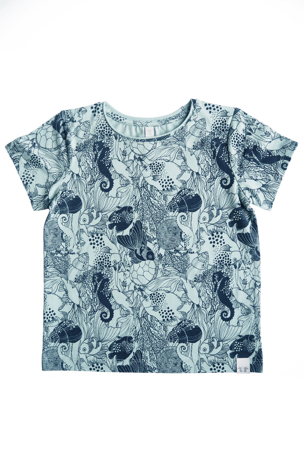 TOM T-shirt  i ekologisk bomull - Print Mint/Navy blue