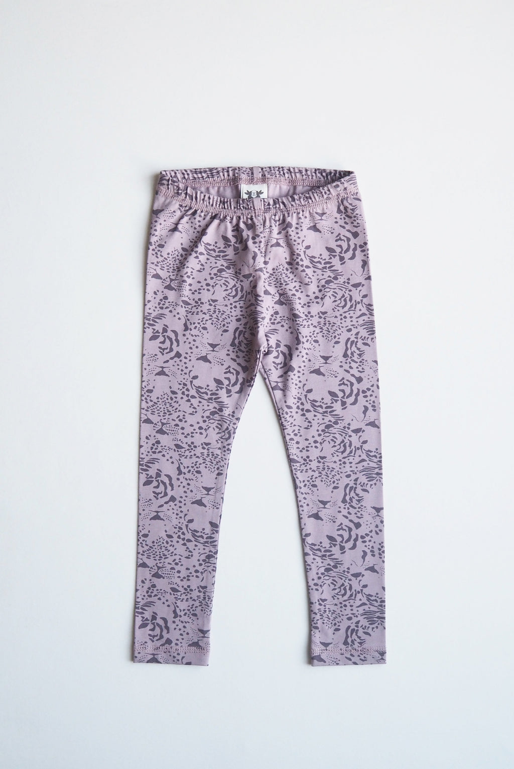 LEON leggings i ekologisk bomull - print purple rose