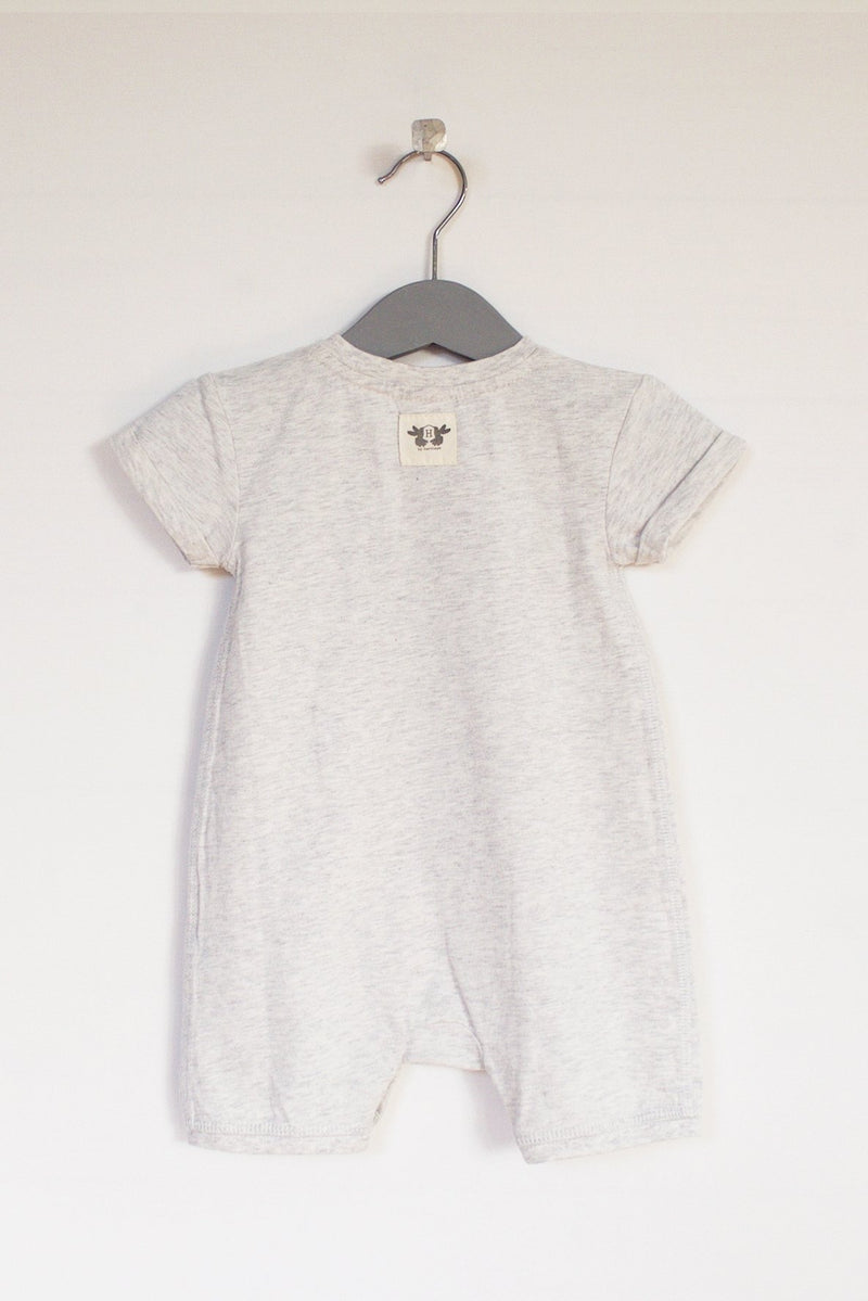 FRANS Playsuit / Onesie short sleeve - grey melange