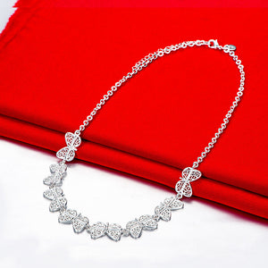 Butterfly Necklace in 18K White Gold Plated