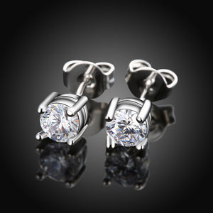 18K White Gold Plated Classic Simulated Diamond