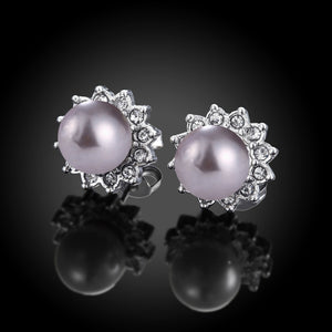 White Gold Plated Purple Pearl Studs