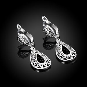 18K White Gold Plated Bohemian Style Drop Earrings