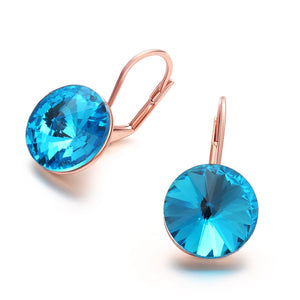 18K Rose Gold Sapphire Topaz Clip-on Earrings