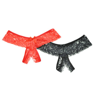 Angelina Crotchless Lace Thongs (2-Pack)