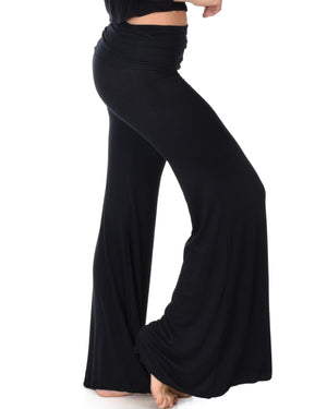 Fold-Over Palazzo Flare Pants