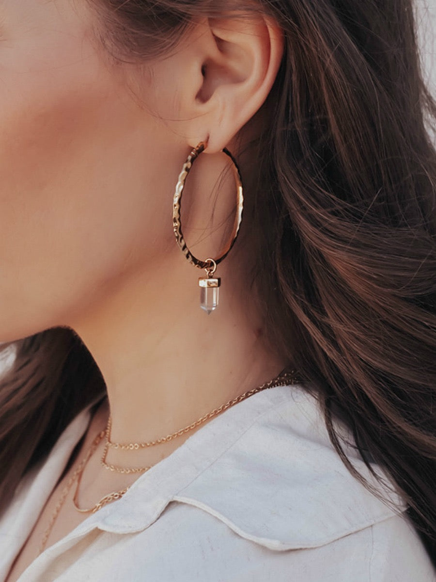 Krush Kouture: Hammered Hoop Earrings with Pendant
