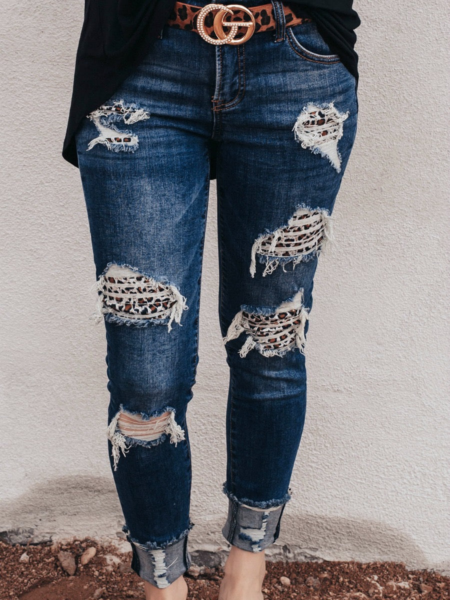 Never Miss Your Chance Distressed Leopard Patch Ankle Skinny