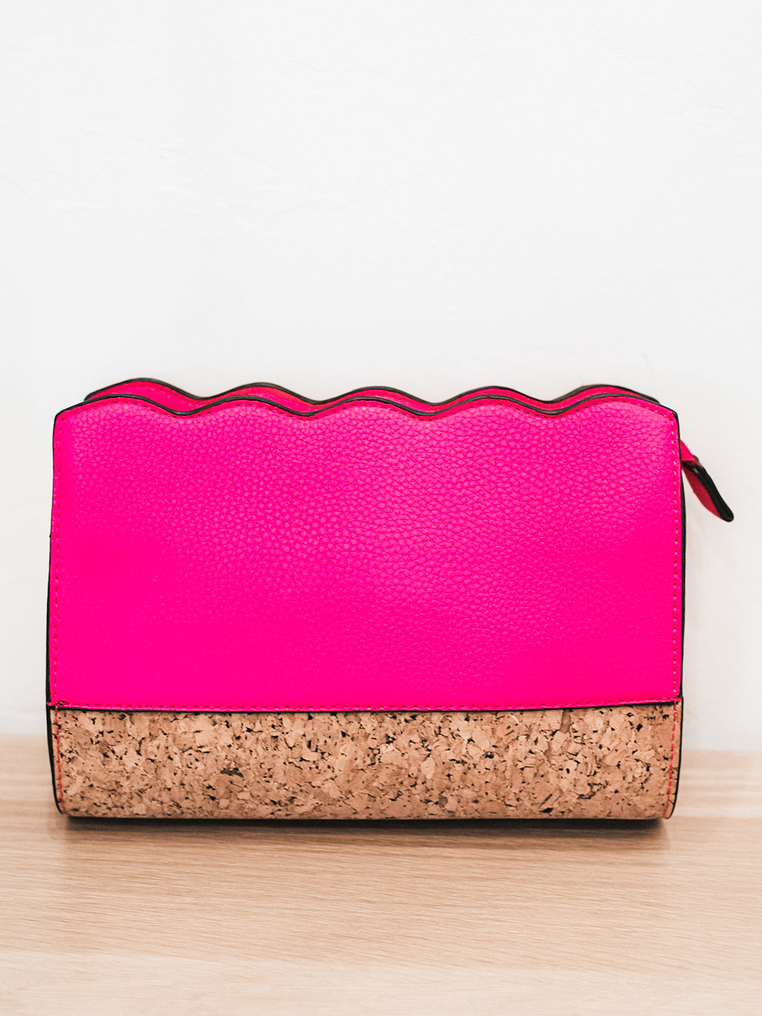 Pretty In Pink Ruffle Cork Detail Crossbody