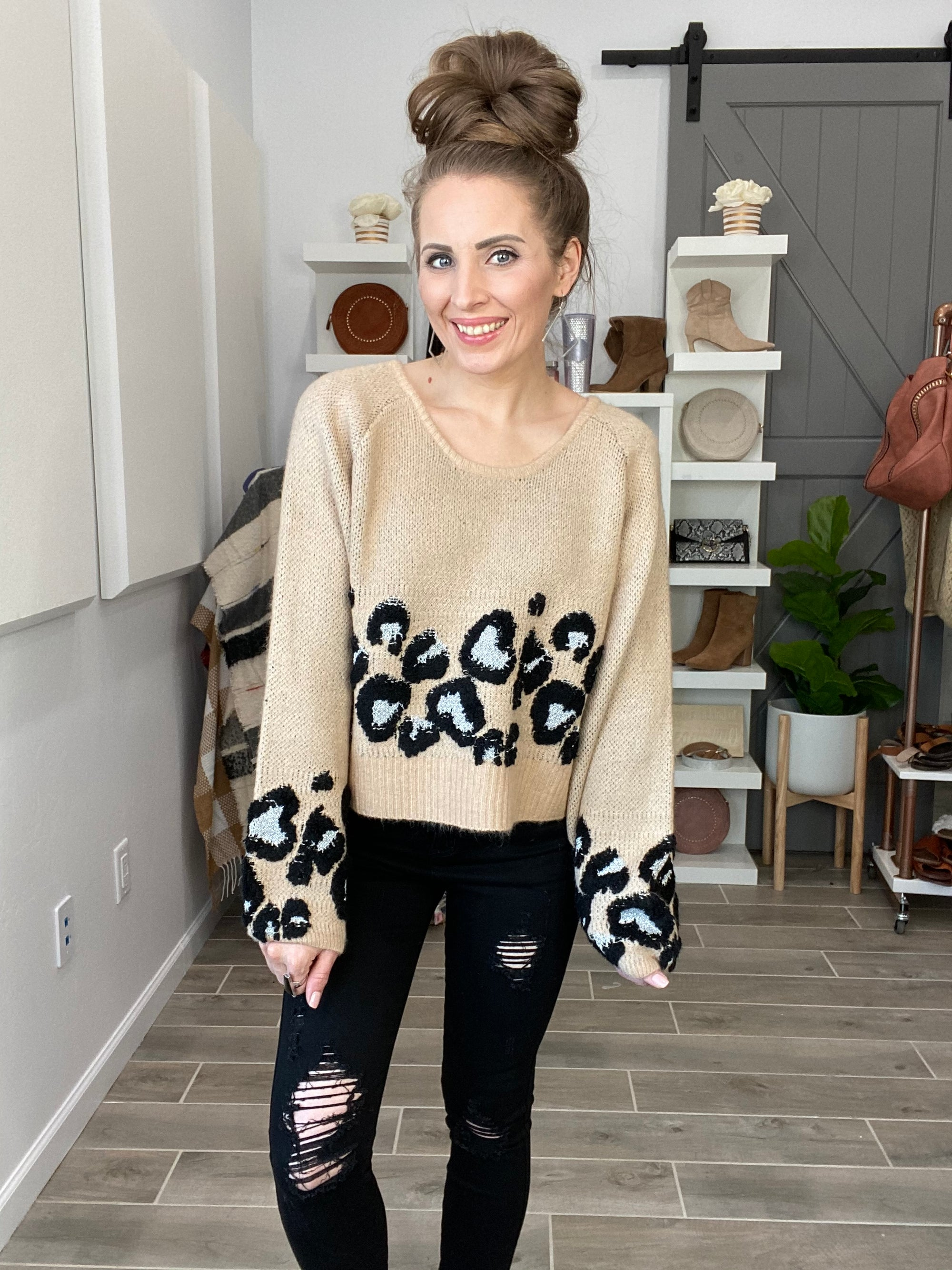 Slouchy Sleeve Leopard Sweater