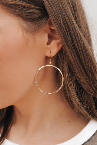 Hammered Metal Golden Open Hoop Earrings