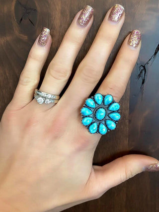 Larimar Baby Flower Blossom Silver Ring
