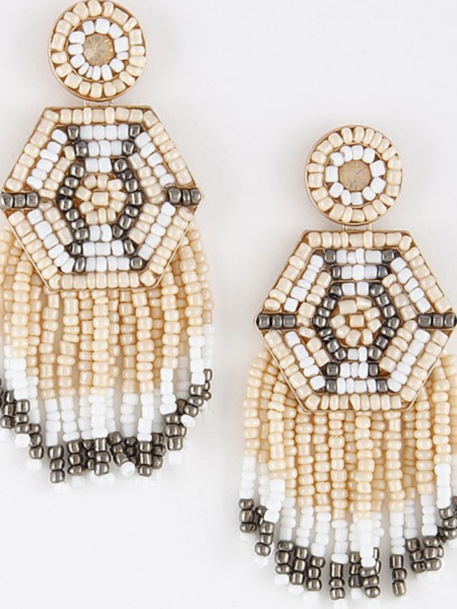 Boho Beaded Tassel Earrings