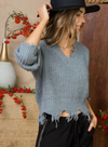 Frayed Hem Sweater