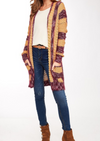 Striped Popcorn Knit Cardigan