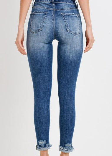 Front Button Skinny Jeans
