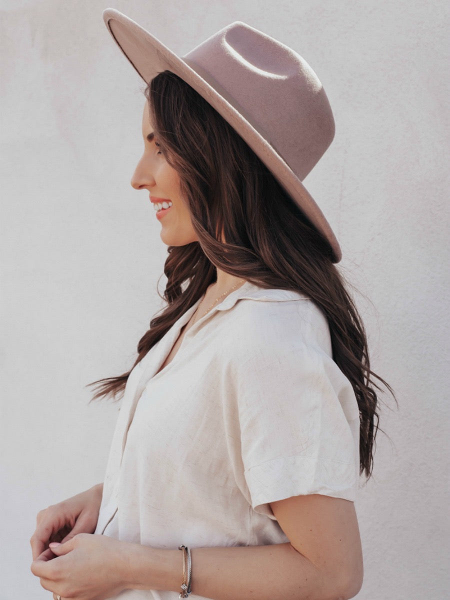 Fedorable Stiff Leather Trim Hat