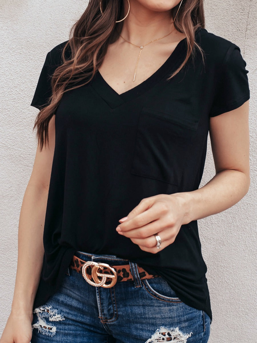 Forever Loved Long Line Deep V-Neck Pocket Shirt