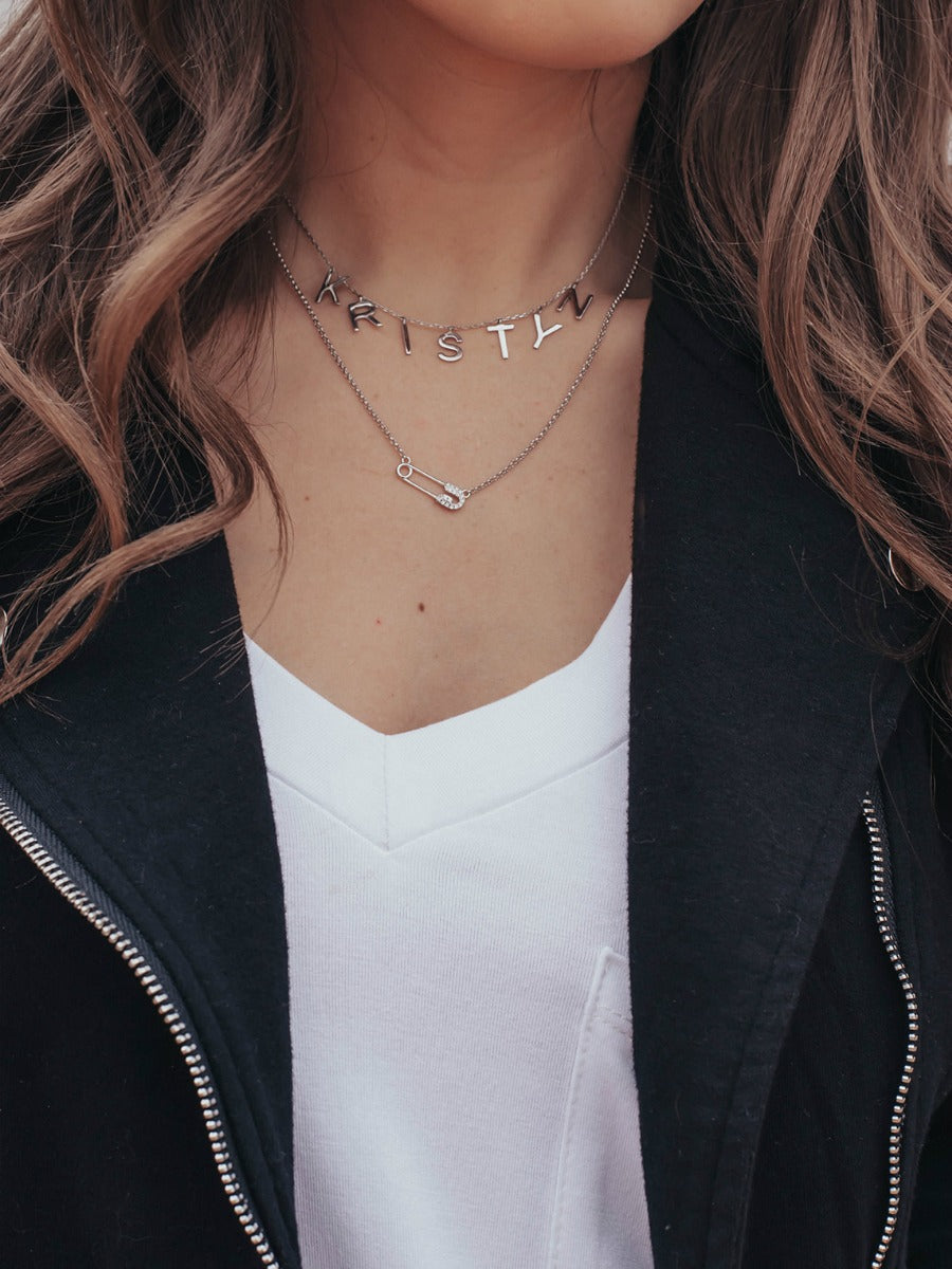 Safety Pin Pave Dainty Silver Necklace