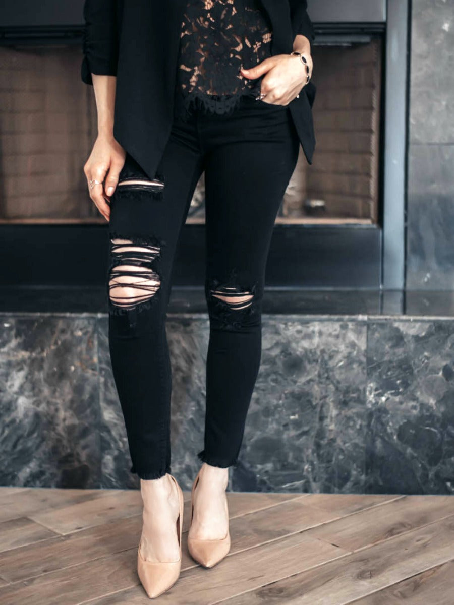 (2 colors, Black & Denim) Perfect Distress Jeans