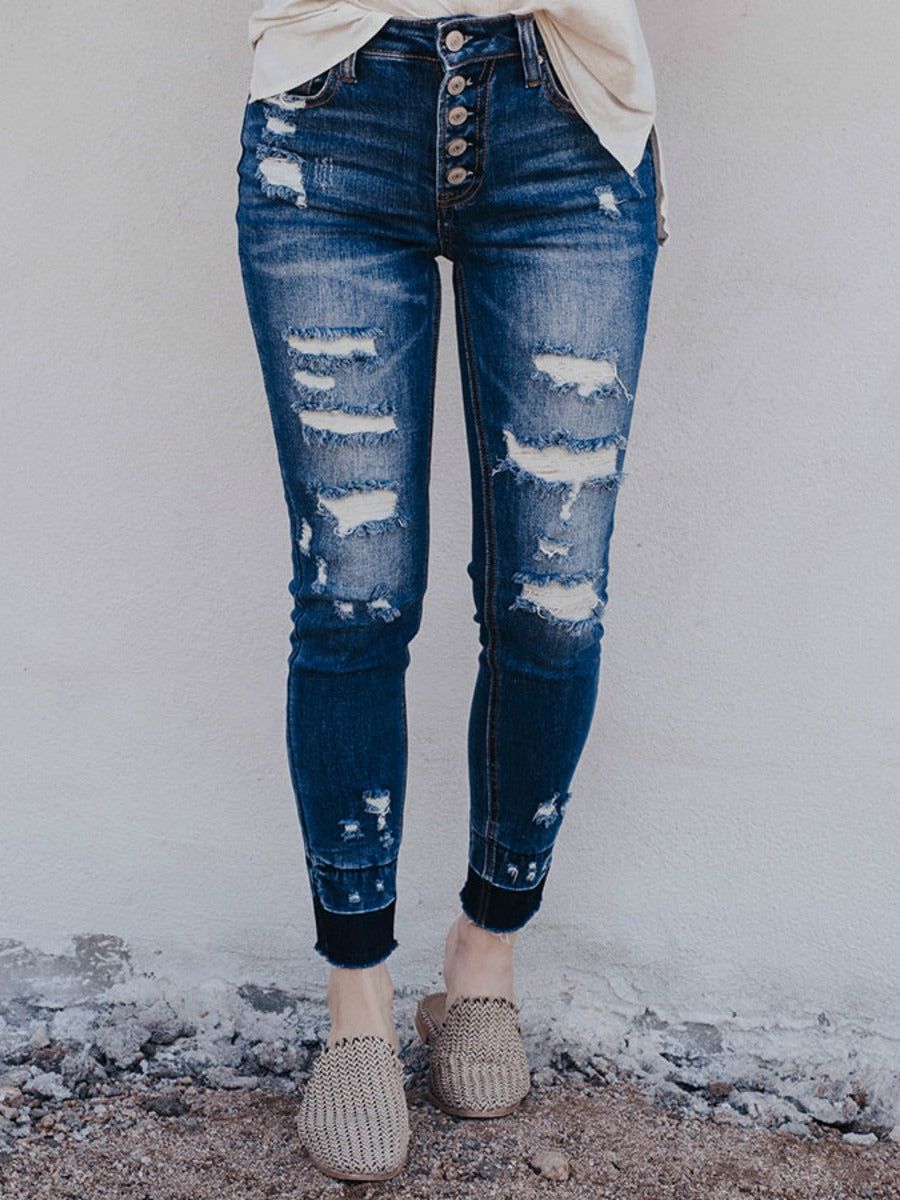 Brunch Culture Contrast Hem Distressed Jeans