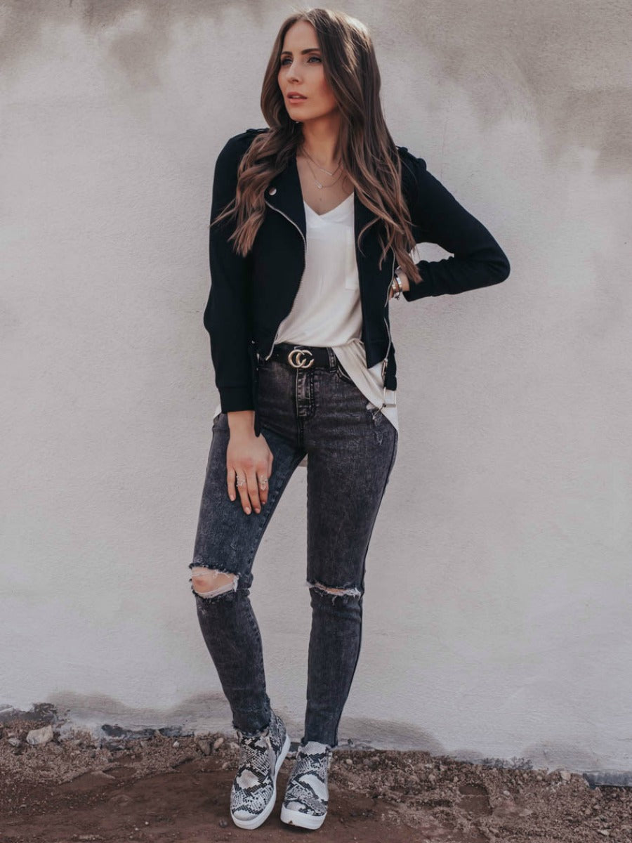 Take Action Ankle Skinny Jeans With Knee Distress
