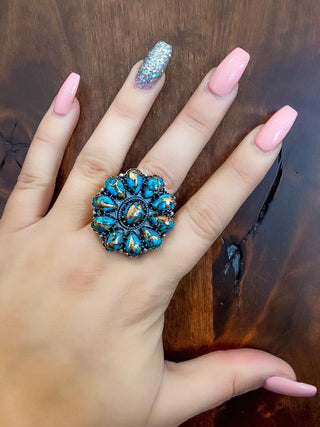Real Turquoise Copper infused Silver Blossom Ring