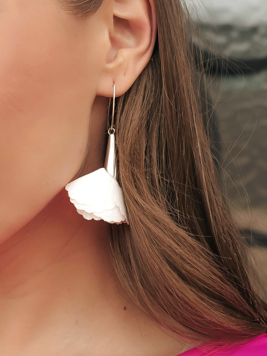 Silver Floral Drop Earring